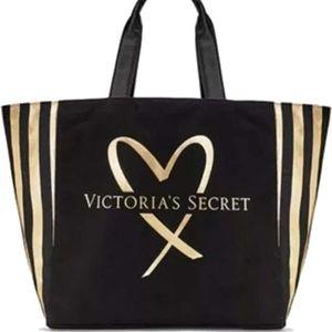 Victoria's Secret Tote NWT Gold Black Bag Duffel